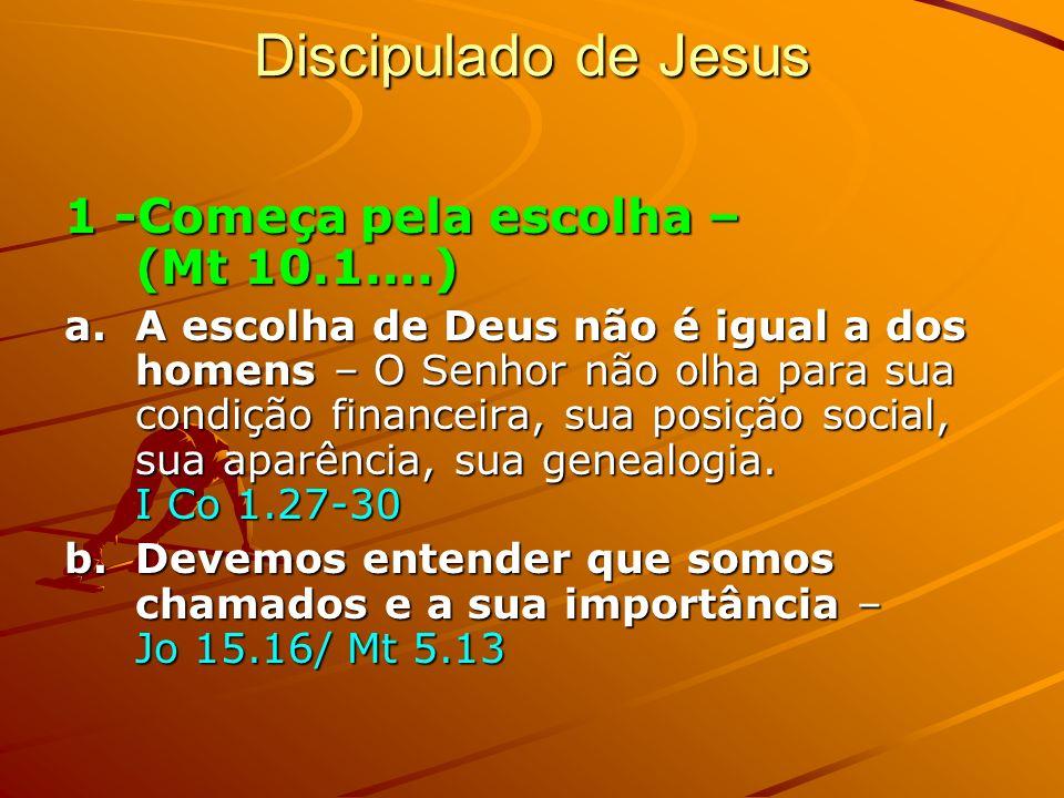 Discipulado de Jesus 1 -Começa pela escolha – (Mt 10.1....)
