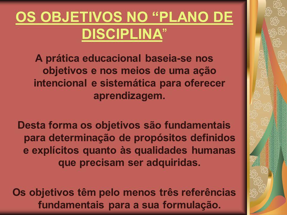 OS OBJETIVOS NO PLANO DE DISCIPLINA