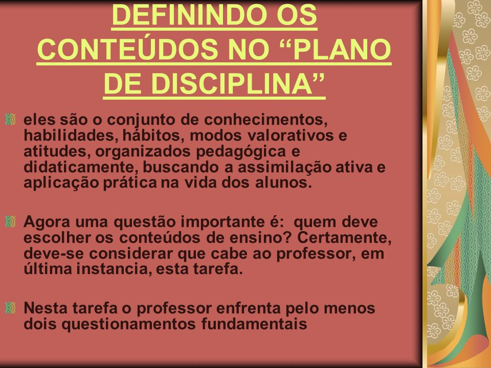 DEFININDO OS CONTEÚDOS NO PLANO DE DISCIPLINA