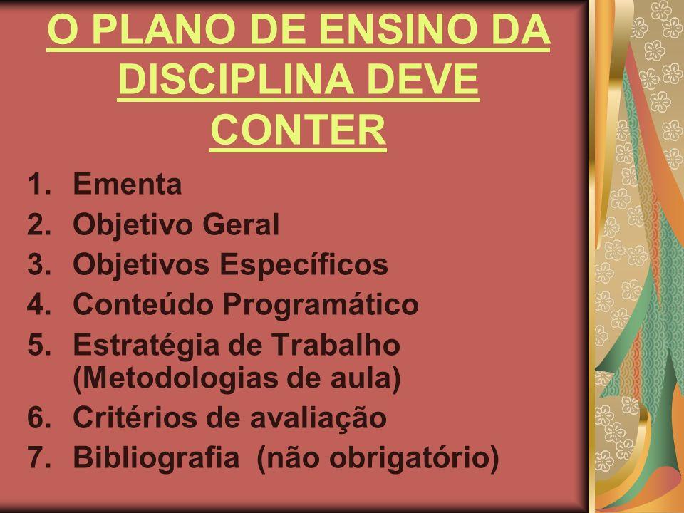 O PLANO DE ENSINO DA DISCIPLINA DEVE CONTER