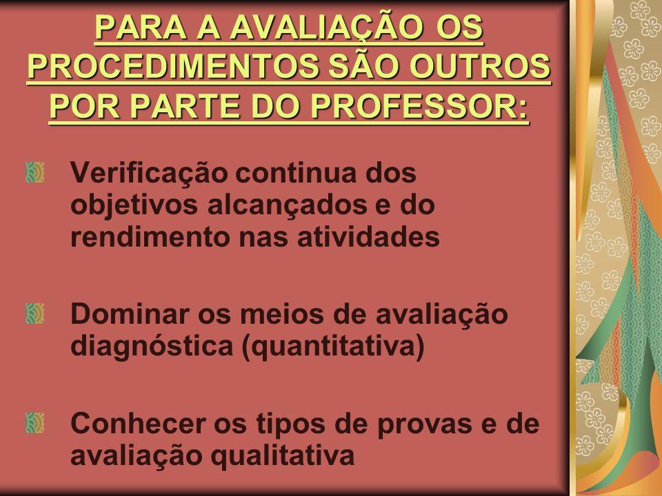 PARA A AVALIAÇÃO OS PROCEDIMENTOS SÃO OUTROS POR PARTE DO PROFESSOR:
