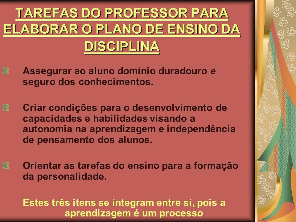 TAREFAS DO PROFESSOR PARA ELABORAR O PLANO DE ENSINO DA DISCIPLINA