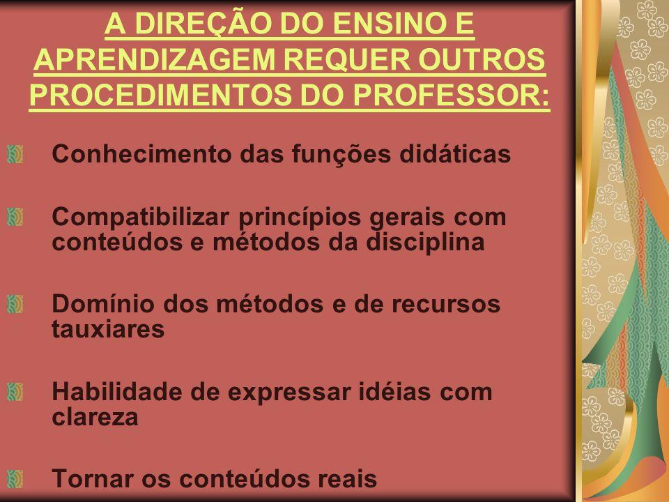 A DIREÇÃO DO ENSINO E APRENDIZAGEM REQUER OUTROS PROCEDIMENTOS DO PROFESSOR: