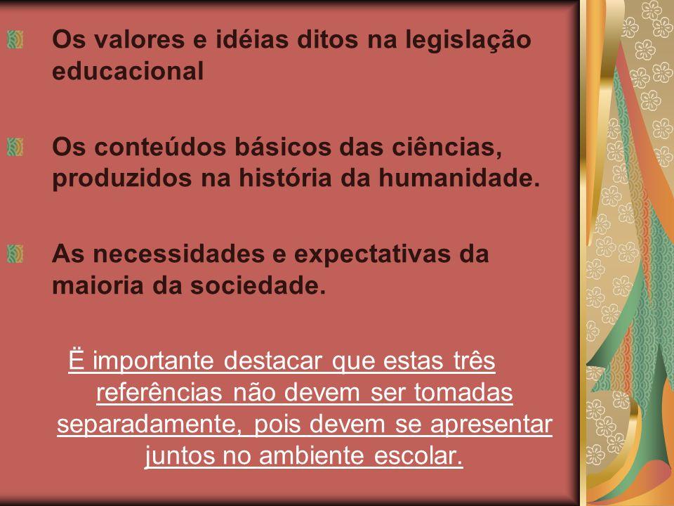 Os valores e idéias ditos na legislação educacional