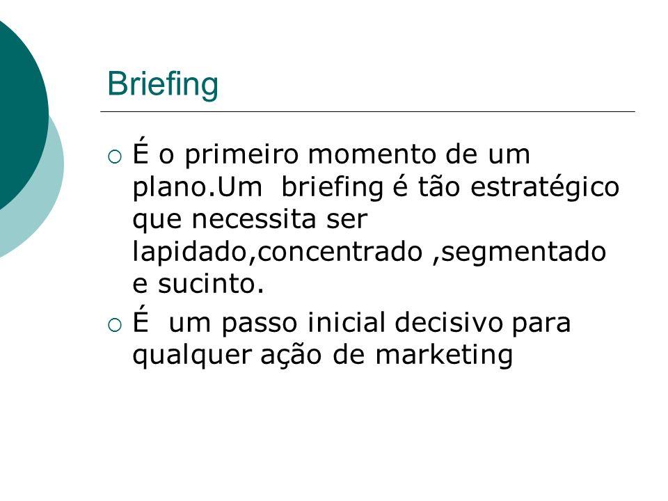 Briefing É o primeiro momento de um plano.Um briefing é tão estratégico que necessita ser lapidado,concentrado ,segmentado e sucinto.