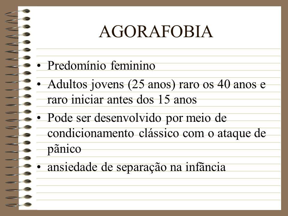 AGORAFOBIA Predomínio feminino