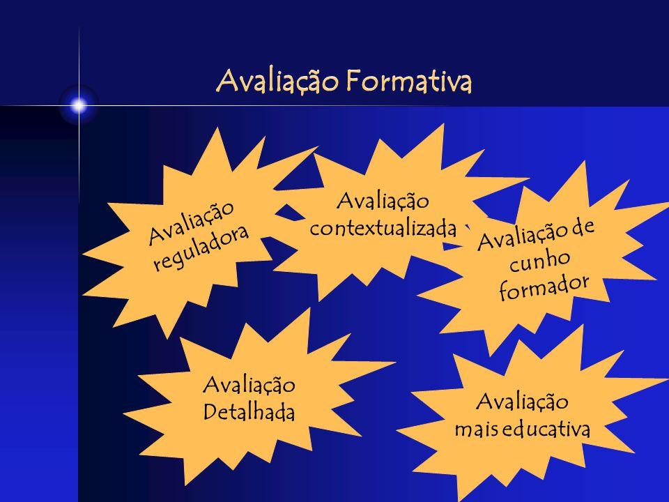 Avaliação Formativa Avaliação Avaliação contextualizada reguladora