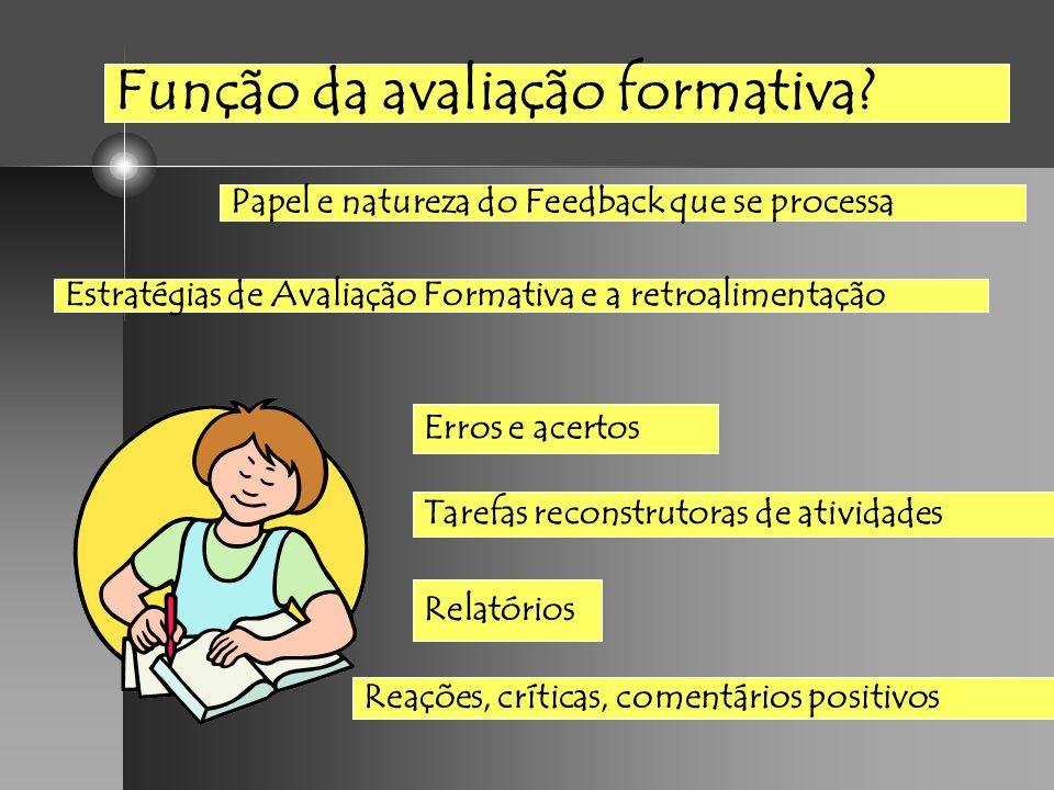 Função da avaliação formativa