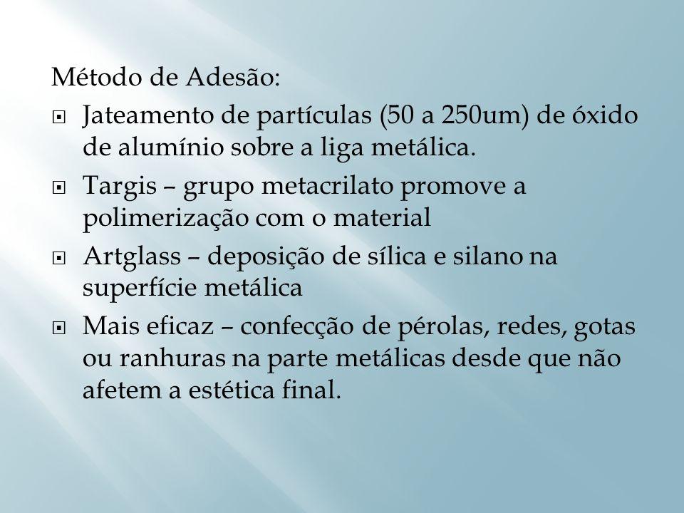Método de Adesão:Jateamento de partículas (50 a 250um) de óxido de alumínio sobre a liga metálica.