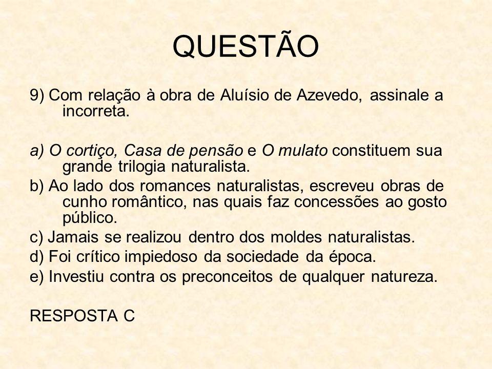 QUESTÃO9) Com relação à obra de Aluísio de Azevedo, assinale a incorreta.
