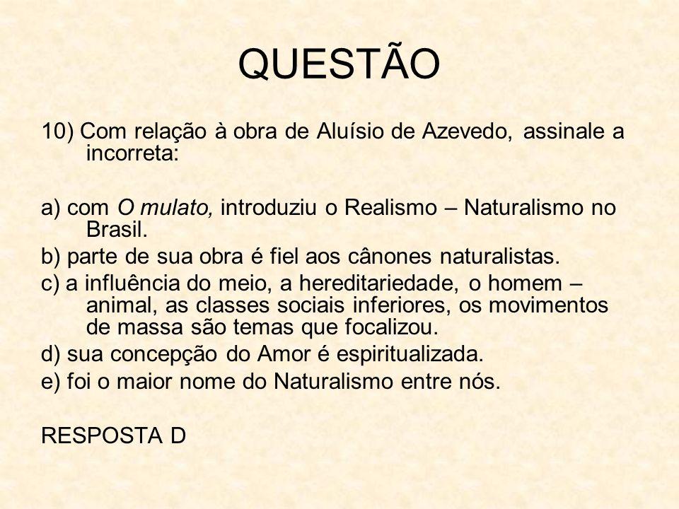 QUESTÃO10) Com relação à obra de Aluísio de Azevedo, assinale a incorreta: a) com O mulato, introduziu o Realismo – Naturalismo no Brasil.
