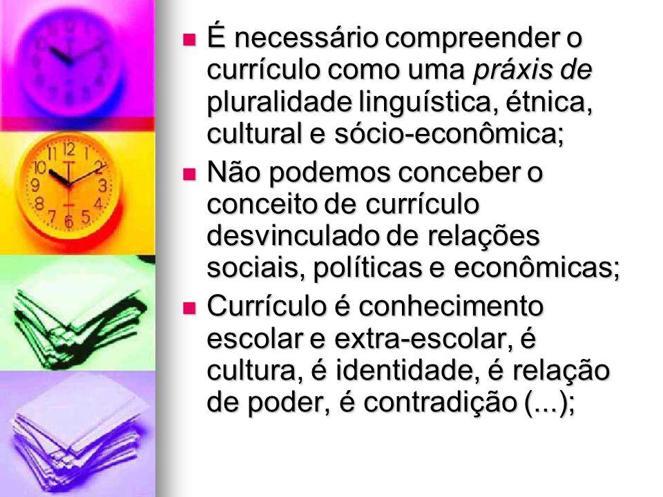 É necessário compreender o currículo como uma práxis de pluralidade linguística, étnica, cultural e sócio-econômica;