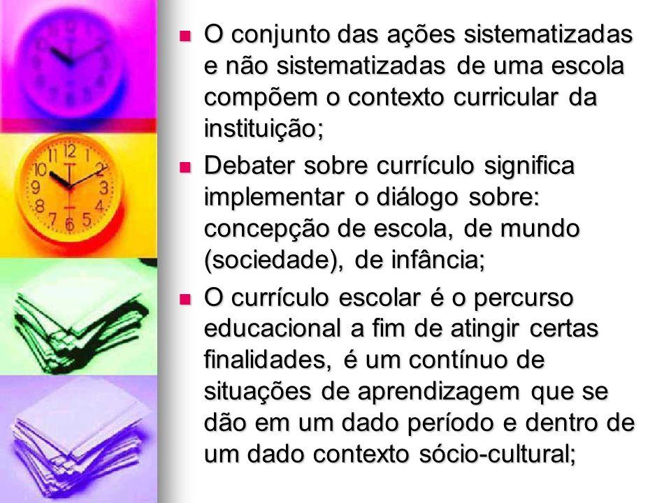 O conjunto das ações sistematizadas e não sistematizadas de uma escola compõem o contexto curricular da instituição;