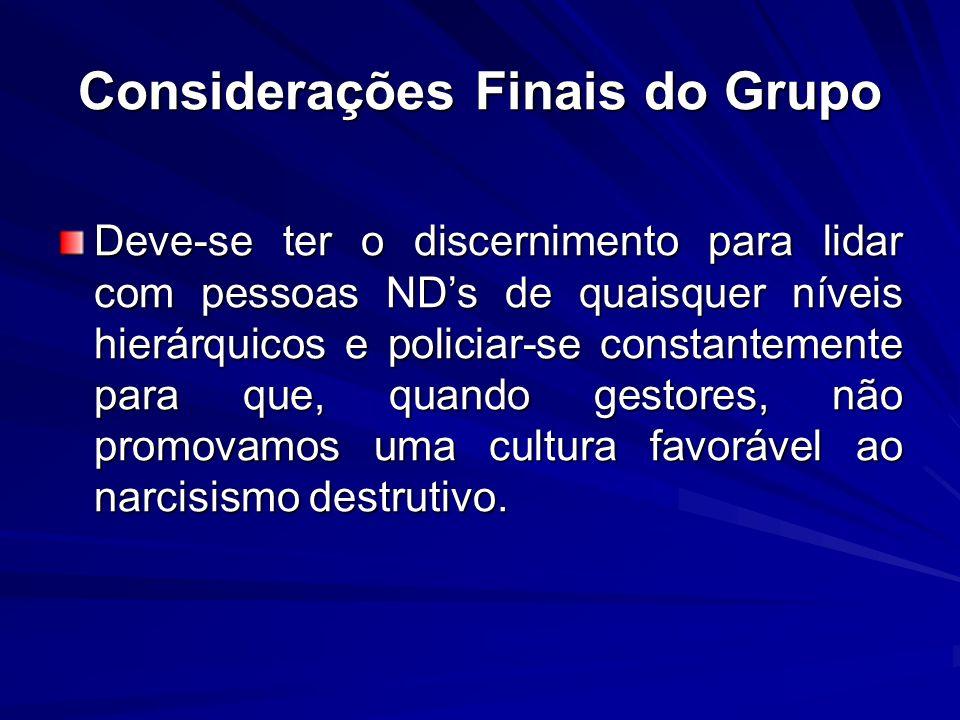 Considerações Finais do Grupo