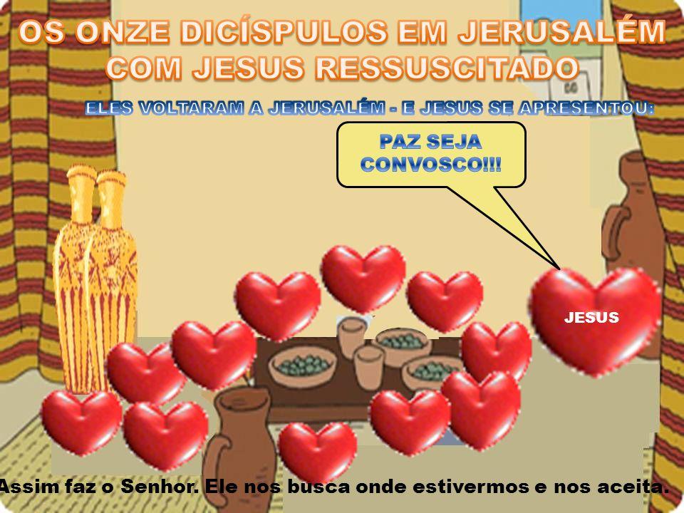 OS ONZE DICÍSPULOS EM JERUSALÉM COM JESUS RESSUSCITADO