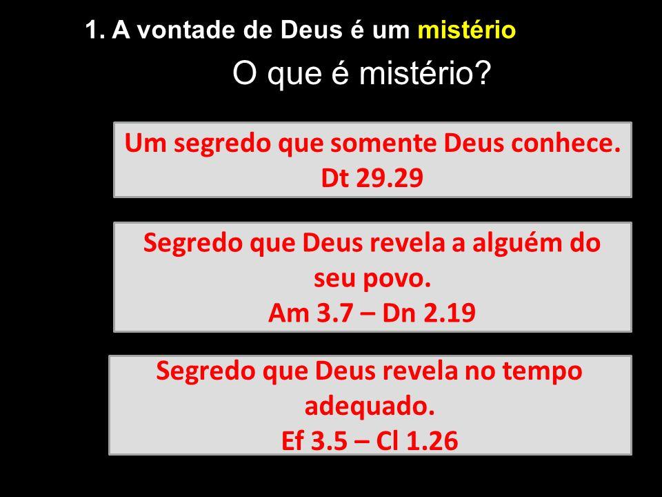 O que é mistério Um segredo que somente Deus conhece. Dt 29.29