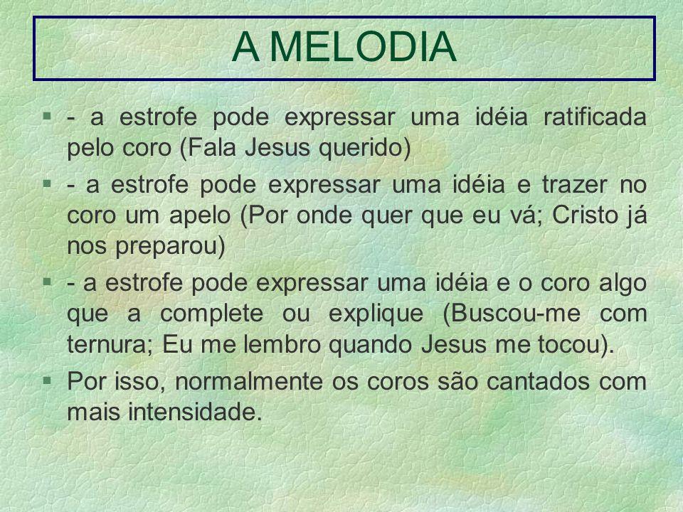 A MELODIA - a estrofe pode expressar uma idéia ratificada pelo coro (Fala Jesus querido)