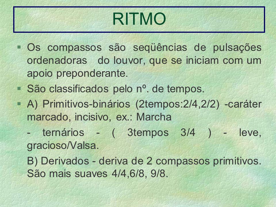 RITMO Os compassos são seqüências de pulsações ordenadoras do louvor, que se iniciam com um apoio preponderante.