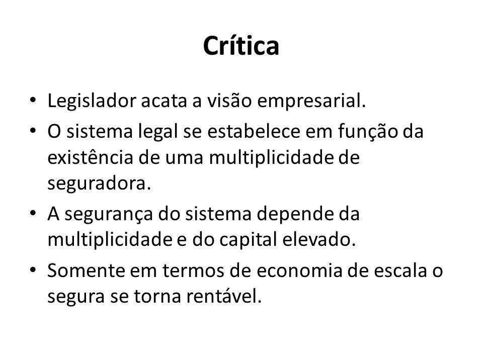 Crítica Legislador acata a visão empresarial.