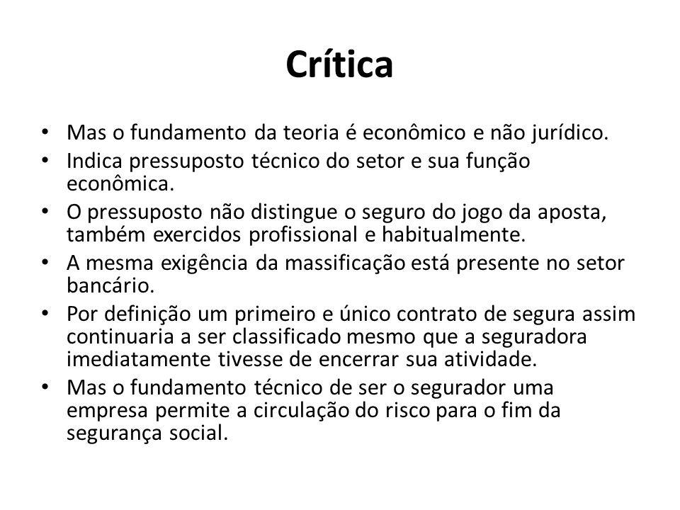 Crítica Mas o fundamento da teoria é econômico e não jurídico.