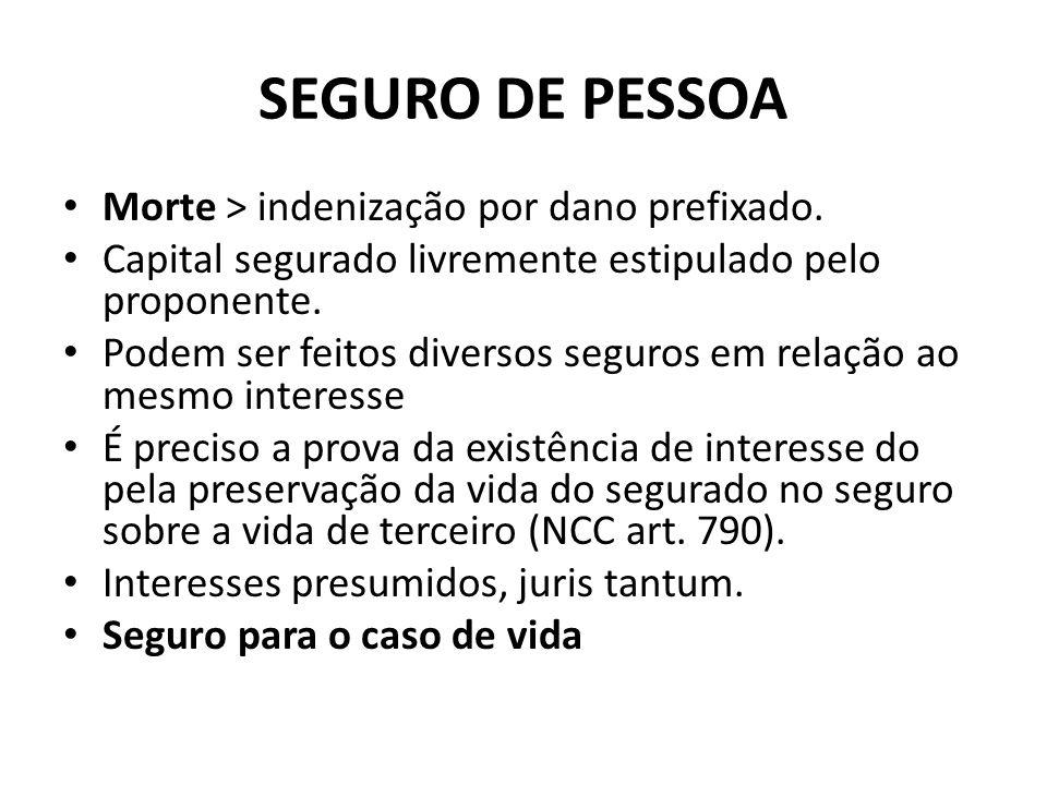 SEGURO DE PESSOA Morte > indenização por dano prefixado.
