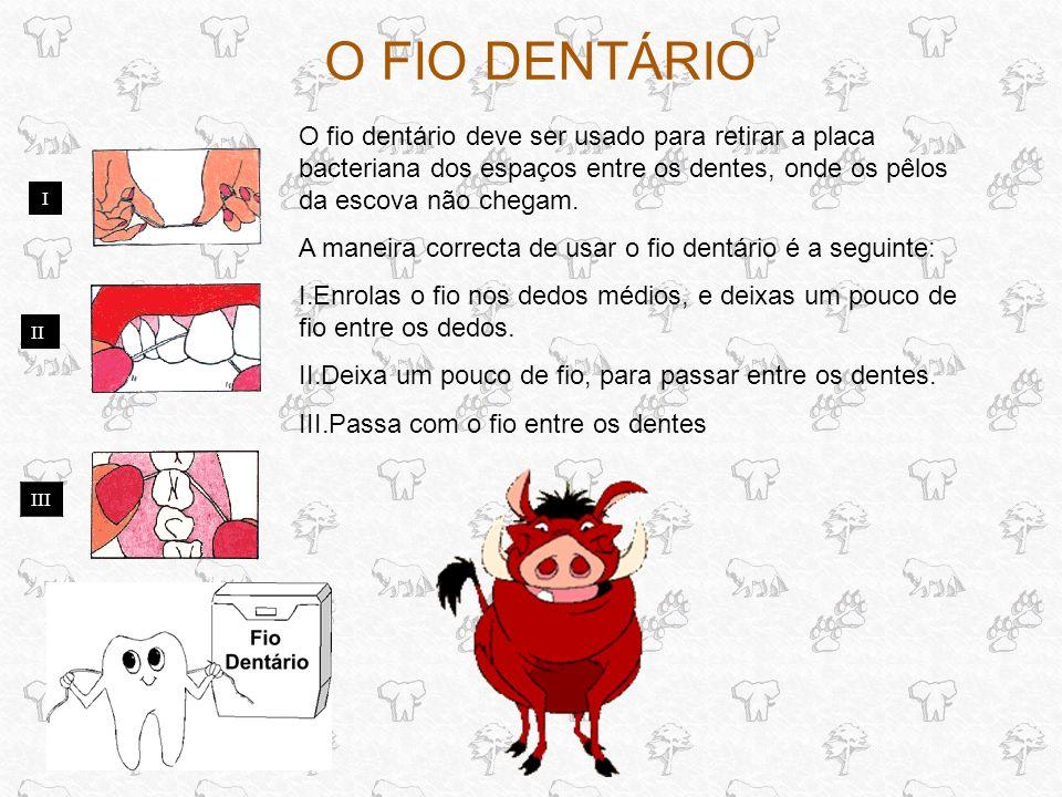 O FIO DENTÁRIO O fio dentário deve ser usado para retirar a placa bacteriana dos espaços entre os dentes, onde os pêlos da escova não chegam.
