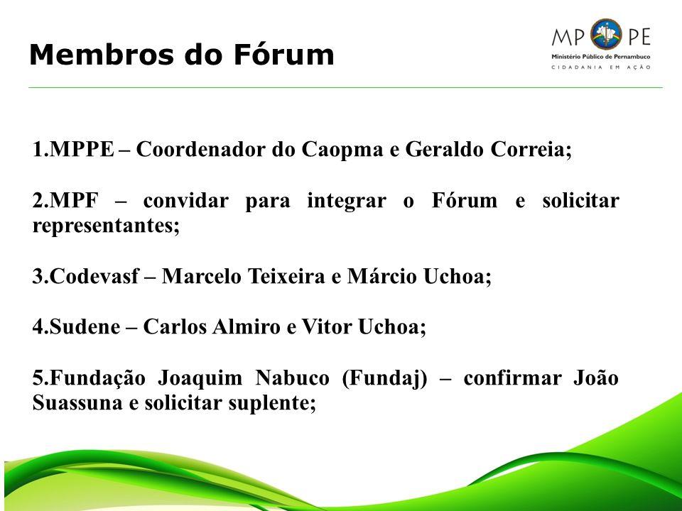 Membros do Fórum 1.MPPE – Coordenador do Caopma e Geraldo Correia;