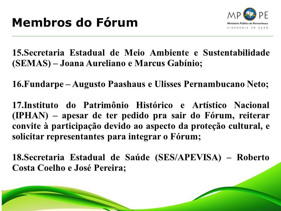Membros do Fórum 15.Secretaria Estadual de Meio Ambiente e Sustentabilidade (SEMAS) – Joana Aureliano e Marcus Gabínio;