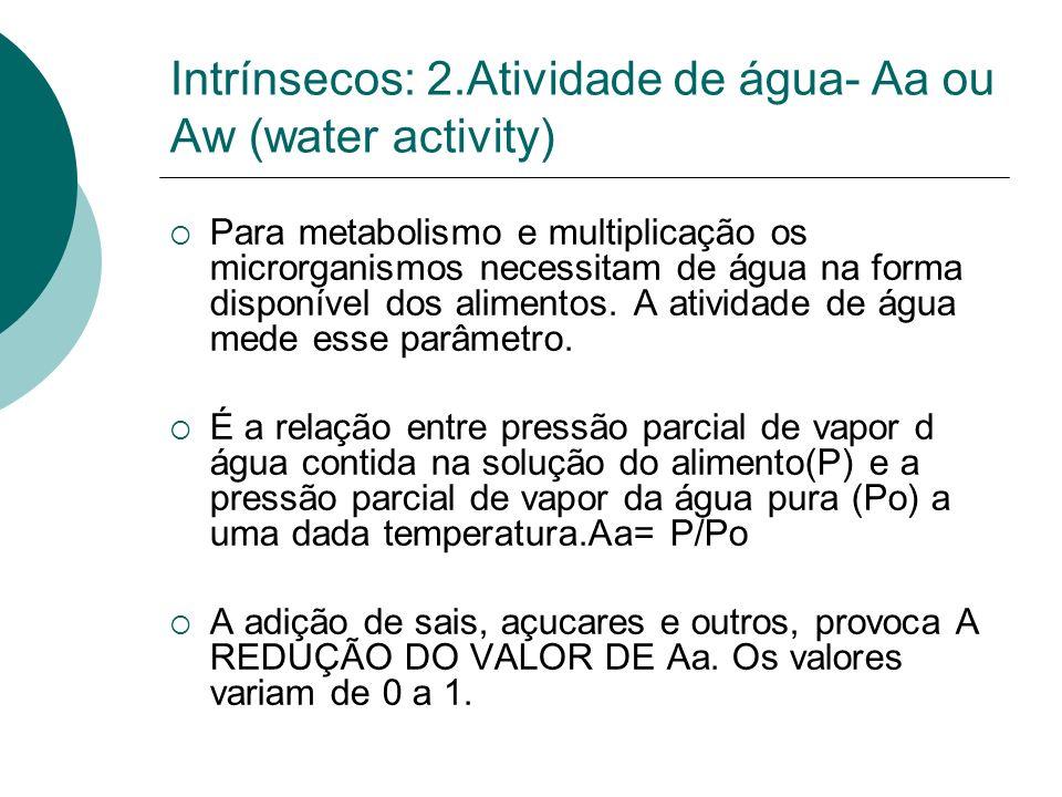 Intrínsecos: 2.Atividade de água- Aa ou Aw (water activity)