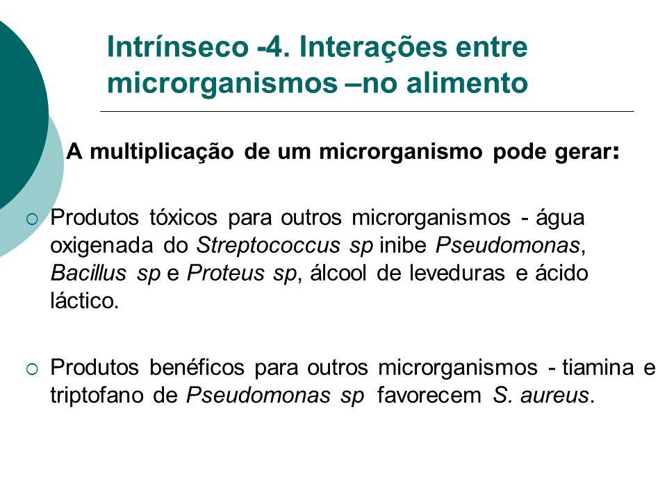 Intrínseco -4. Interações entre microrganismos –no alimento