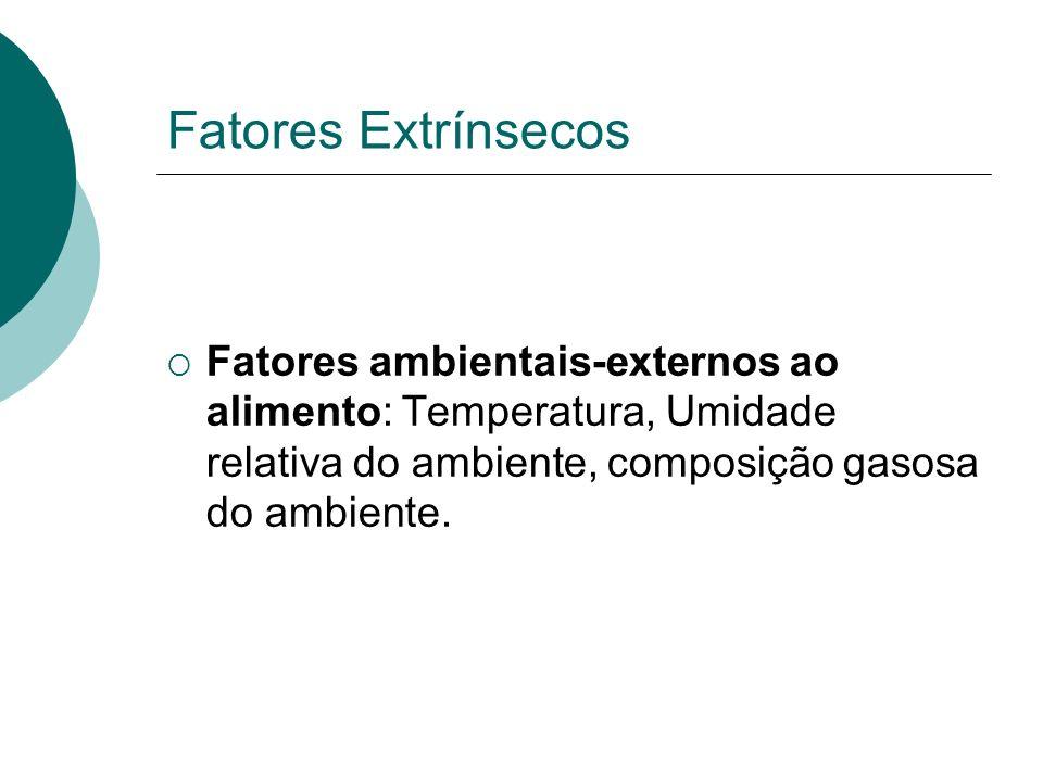 Fatores Extrínsecos Fatores ambientais-externos ao alimento: Temperatura, Umidade relativa do ambiente, composição gasosa do ambiente.