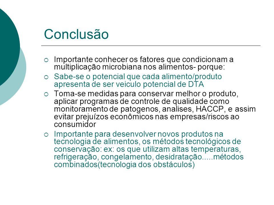 Conclusão Importante conhecer os fatores que condicionam a multiplicação microbiana nos alimentos- porque: