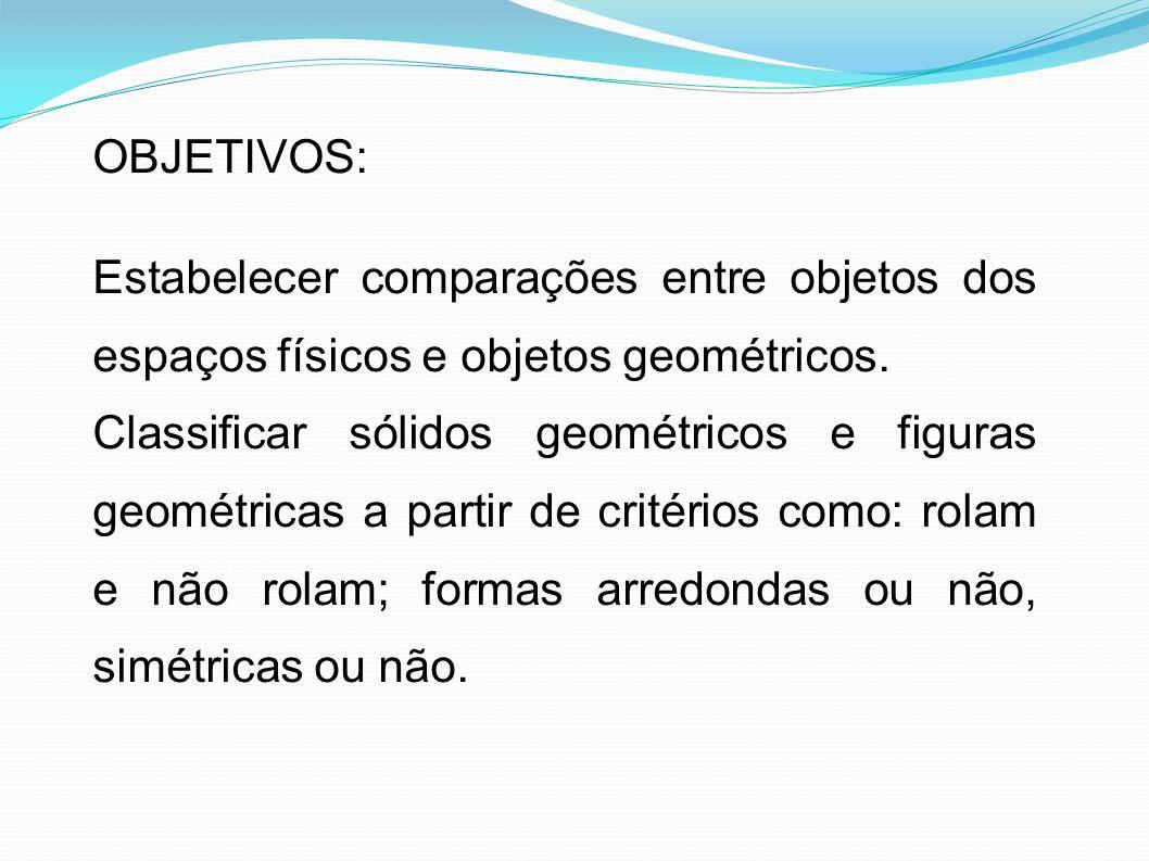 OBJETIVOS: Estabelecer comparações entre objetos dos espaços físicos e objetos geométricos.