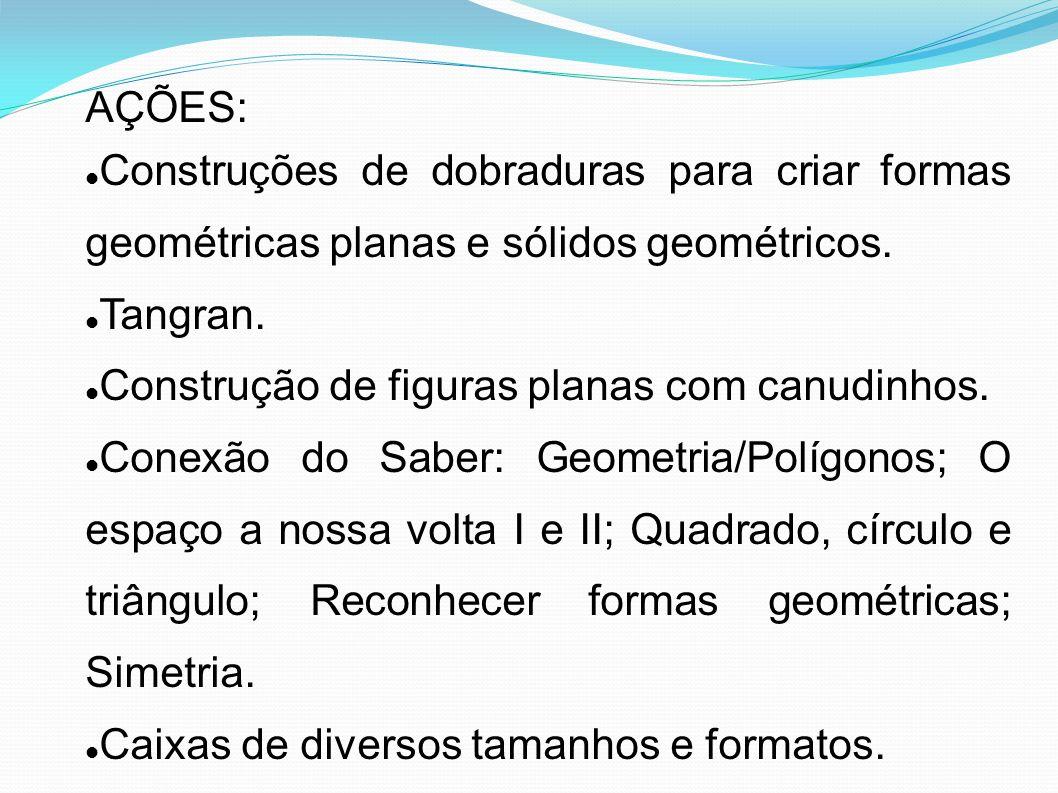 AÇÕES: Construções de dobraduras para criar formas geométricas planas e sólidos geométricos. Tangran.