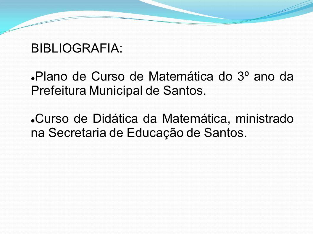 BIBLIOGRAFIA: Plano de Curso de Matemática do 3º ano da Prefeitura Municipal de Santos.