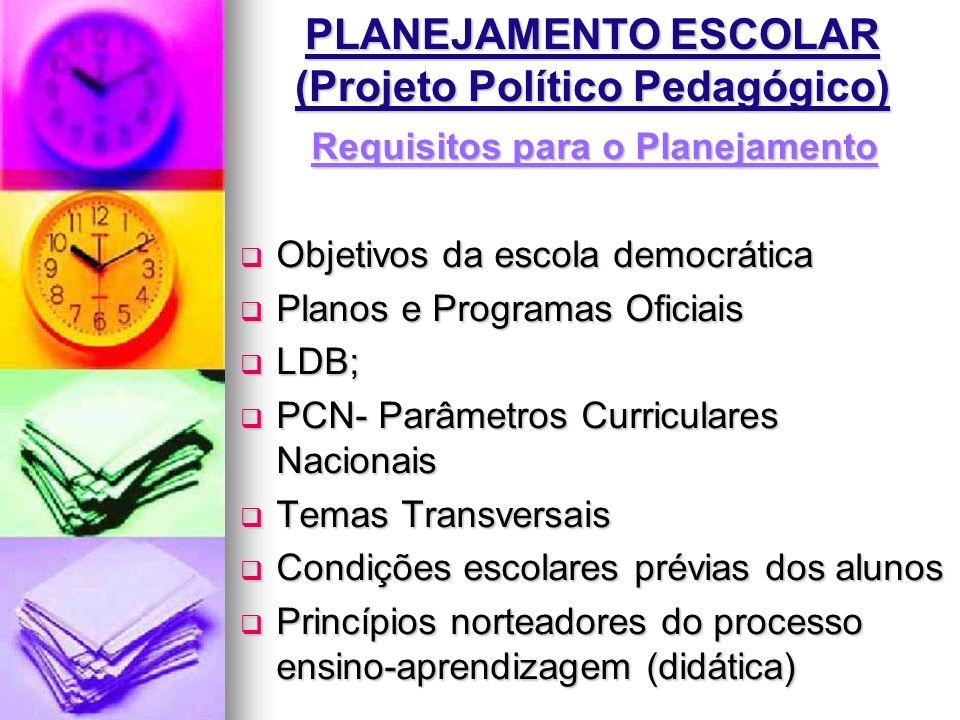 PLANEJAMENTO ESCOLAR (Projeto Político Pedagógico)