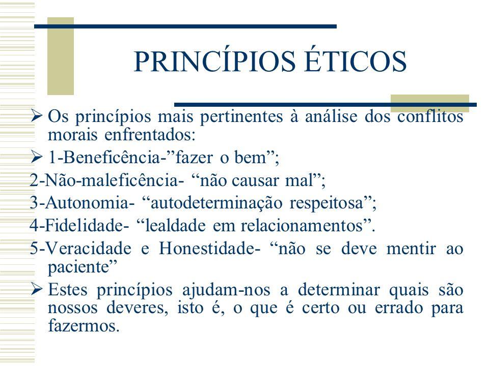 PRINCÍPIOS ÉTICOS Os princípios mais pertinentes à análise dos conflitos morais enfrentados: 1-Beneficência- fazer o bem ;