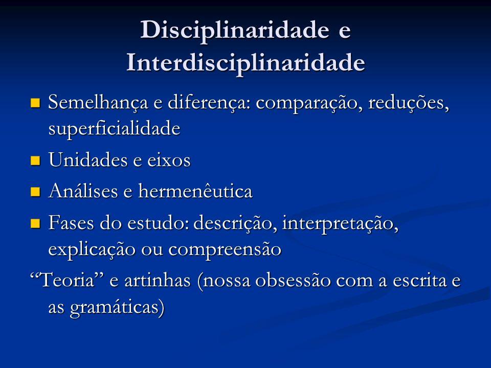 Disciplinaridade e Interdisciplinaridade