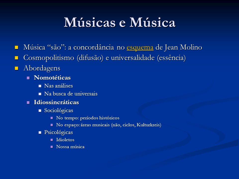 Músicas e Música Música são : a concordância no esquema de Jean Molino. Cosmopolitismo (difusão) e universalidade (essência)