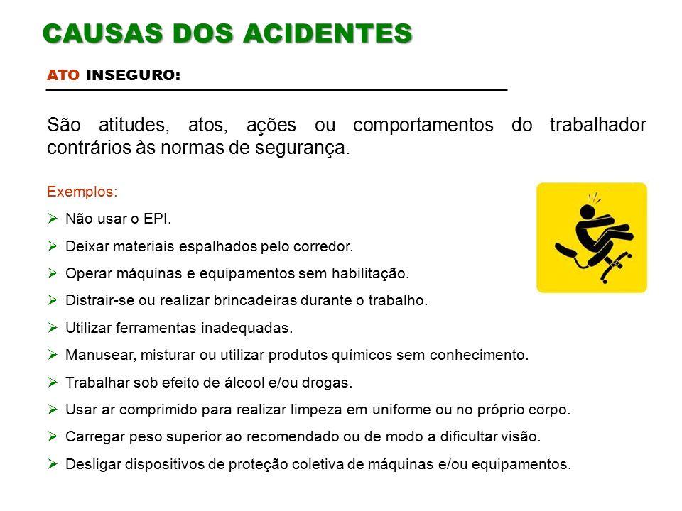 CAUSAS DOS ACIDENTES ATO INSEGURO: São atitudes, atos, ações ou comportamentos do trabalhador contrários às normas de segurança.