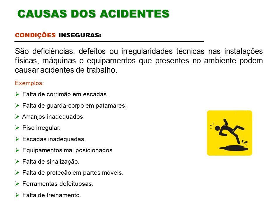 CAUSAS DOS ACIDENTES CONDIÇÕES INSEGURAS: