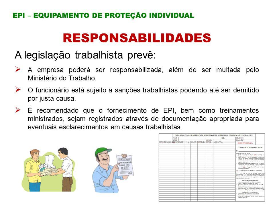 RESPONSABILIDADES A legislação trabalhista prevê: