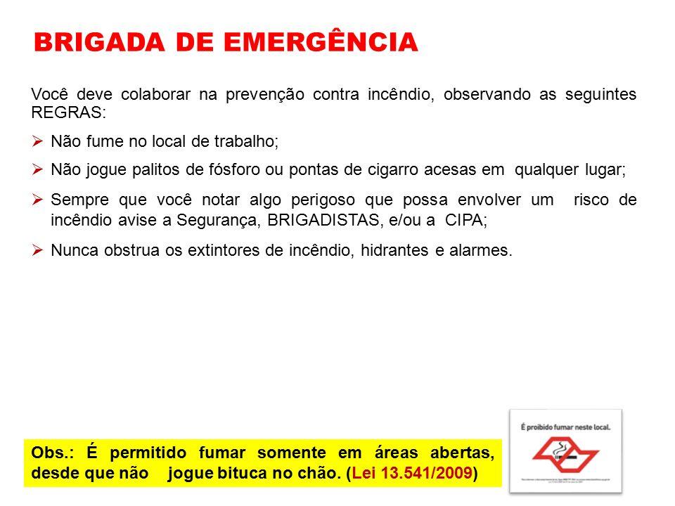 BRIGADA DE EMERGÊNCIA Você deve colaborar na prevenção contra incêndio, observando as seguintes REGRAS: