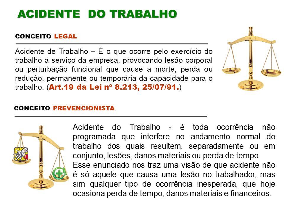 ACIDENTE DO TRABALHO CONCEITO LEGAL.