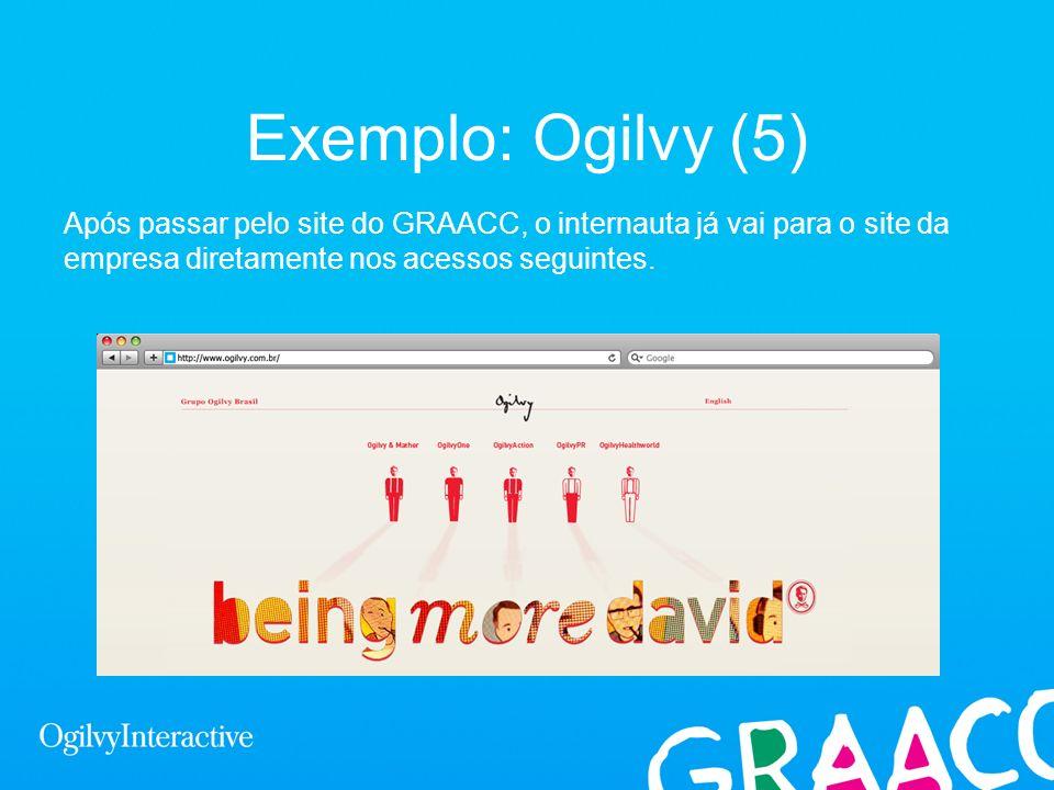 Exemplo: Ogilvy (5)Após passar pelo site do GRAACC, o internauta já vai para o site da empresa diretamente nos acessos seguintes.