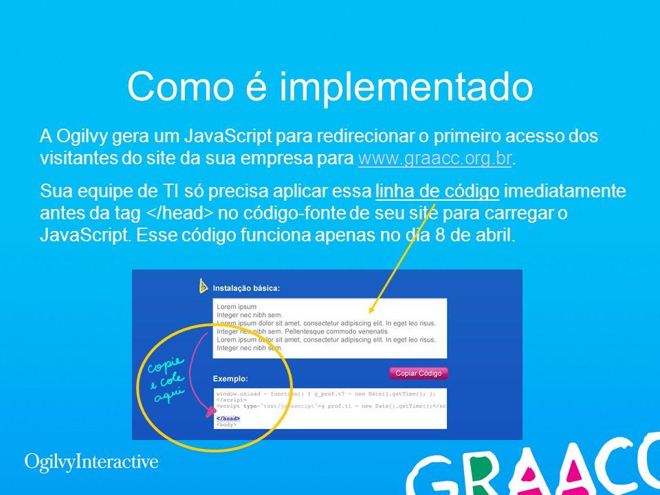 Como é implementadoA Ogilvy gera um JavaScript para redirecionar o primeiro acesso dos visitantes do site da sua empresa para www.graacc.org.br.