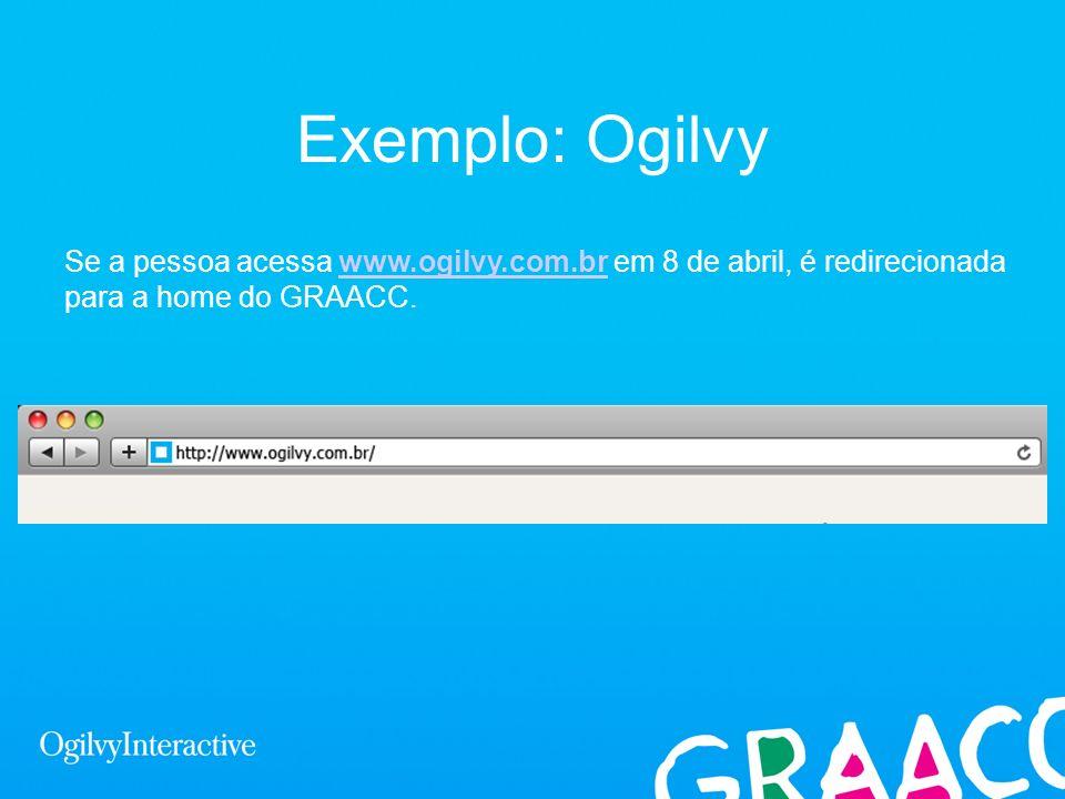 Exemplo: OgilvySe a pessoa acessa www.ogilvy.com.br em 8 de abril, é redirecionada para a home do GRAACC.