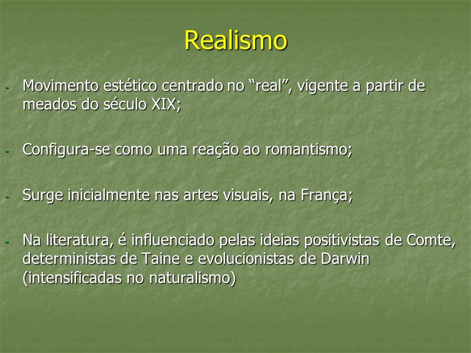 Realismo Movimento estético centrado no real , vigente a partir de meados do século XIX; Configura-se como uma reação ao romantismo;