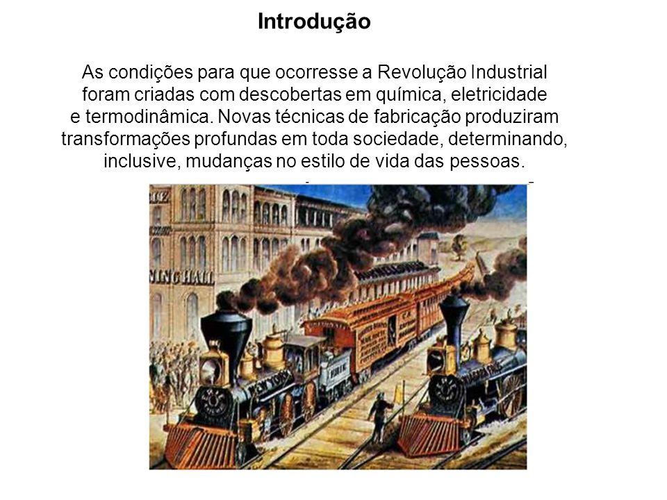Introdução As condições para que ocorresse a Revolução Industrial foram criadas com descobertas em química, eletricidade e termodinâmica.