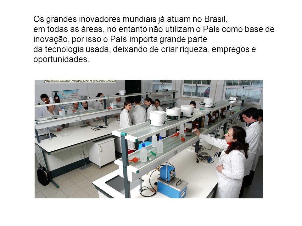 Os grandes inovadores mundiais já atuam no Brasil, em todas as áreas, no entanto não utilizam o País como base de inovação, por isso o País importa grande parte da tecnologia usada, deixando de criar riqueza, empregos e oportunidades.